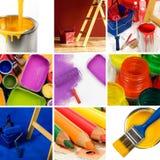 Mooie het schilderen collage Stock Afbeeldingen