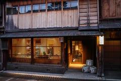 Mooie Higashi Chaya District bij schemer, Kanazawa, Chubu-prefectuur, Japan royalty-vrije stock foto