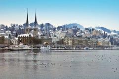 Beautiful Hofkirche in winter Lucerne Stock Foto