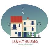 Mooie Huizen onder de maan Royalty-vrije Stock Foto