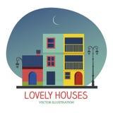 Mooie Huizen onder de maan Royalty-vrije Stock Afbeeldingen