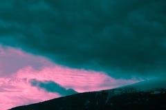Mooie humeurige ijzige landschaps Europese alpiene bergen Royalty-vrije Stock Afbeelding