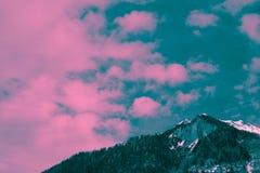 Mooie humeurige ijzige landschaps Europese alpiene bergen Royalty-vrije Stock Foto