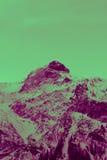 Mooie humeurige ijzige landschaps Europese alpiene bergen Stock Foto's