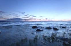 Mooie humeurige zonsondergang Stock Foto's