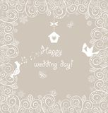 Mooie huwelijks kanten kaart met mooie vogels Royalty-vrije Stock Foto's