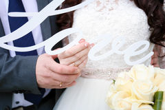 Mooie huwelijksdag, bruid en bruidegom Stock Fotografie