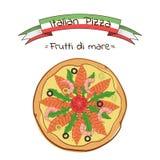 Mooie illustratie van Italiaans Di van pizzafrutti Stock Afbeelding