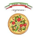 Mooie illustratie van Italiaanse pizza Royalty-vrije Stock Afbeeldingen