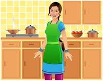 Mooie Indische vrouw in Keuken Royalty-vrije Stock Foto's