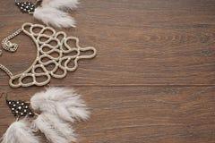 Mooie inzameling van juwelen voor vrouwen gevoelige oorringen met veren en halsband Royalty-vrije Stock Foto