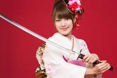 Japanse kimonovrouw Stock Afbeelding