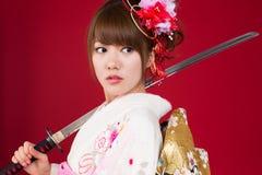 Japanse kimonovrouw Stock Afbeeldingen