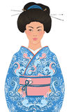 Mooie Japanse vrouw in kimono stock illustratie
