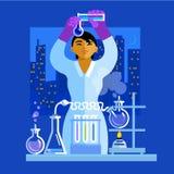 Mooie jonge Aziatische de holdingsflessen van de vrouwenwetenschapper, die in het laboratorium werken Vector vector illustratie