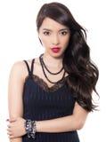 Mooie jonge Aziatische vrouw met perfecte huid op geïsoleerde achtergrond royalty-vrije stock foto's