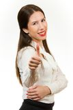 Mooie jonge bedrijfsvrouw, met haar omhoog duim Royalty-vrije Stock Fotografie