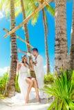 Mooie jonge bruid in een witte kleding en bruidegom onder een palm RT stock fotografie