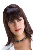 Mooie jonge brunette met steunen op tanden 3 stock fotografie