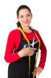 Mooie jonge de naaistersontwerper van de vrouwenkleermaker stock afbeelding