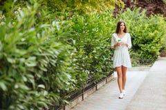 Mooie jonge donkerbruine vrouw die meeneemkoffie in park in de zomer drinken stock foto