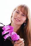 Mooie jonge glimlachende vrouw Stock Foto's