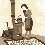 Mooie, jonge meisje het brouwen koffie op het fornuis in het dorp Stock Foto