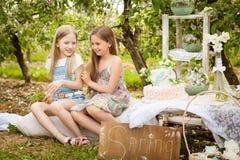 Mooie jonge meisjes in de lentetuin Royalty-vrije Stock Fotografie
