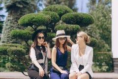 Mooie jonge meisjes in openlucht in Zonnig weer royalty-vrije stock afbeeldingen