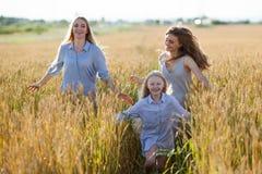 Mooie jonge moeder en haar dochters die bij het tarwegebied lopen Stock Foto's