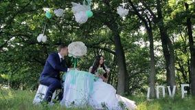 Mooie jonge paarbruid en bruidegom bij een lijst stock video