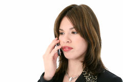 Mooie Jonge Spaanse Vrouw op Cellphone Stock Foto's