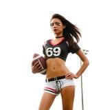 Mooie jonge voetbalvrouw Royalty-vrije Stock Afbeeldingen