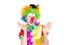Mooie jonge vrouw als clown royalty-vrije stock foto