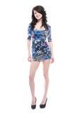 Mooie jonge vrouw in blauwe kleding Royalty-vrije Stock Foto's