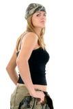 Mooie Jonge Vrouw in Camo Stock Afbeelding