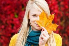 Mooie jonge vrouw - de herfstportret stock foto's