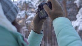 Mooie jonge vrouw in de winterkleding, vuisthandschoenen en wolhoed die sneeuwbos fotograferen door een gebreide camera stock footage