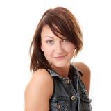 Mooie jonge vrouw die blauw sprongkostuum draagt Stock Foto's