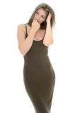 Mooie Jonge Vrouw die een Sexy Nauwsluitende Avondjurk dragen stock foto's
