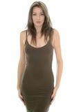 Mooie Jonge Vrouw die een Sexy Nauwsluitende Avondjurk dragen stock fotografie