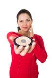 Mooie jonge vrouw die make-up toepast Stock Fotografie