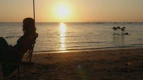 Mooie jonge vrouw die op een schommeling bij verbazende zonsondergang door de zon met de gevolgen van de lensgloed voor het stran stock videobeelden