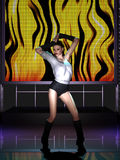 Mooie jonge vrouw die op stadium dansen Stock Afbeeldingen