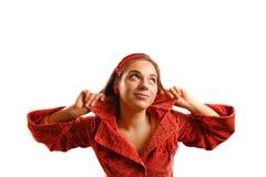 Mooie jonge vrouw die rood jasje draagt royalty-vrije stock afbeeldingen