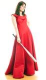 Een vrouw met een honkbalknuppel Royalty-vrije Stock Foto