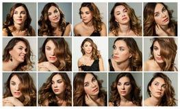 Mooie jonge vrouw, emoties, collage, reeks stock fotografie