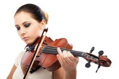Mooie jonge vrouw het spelen viool over wit stock foto's