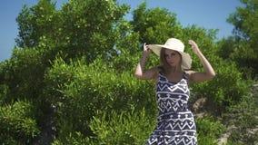 Mooie jonge vrouw in kleding en hoed op groene bomenachtergrond Portret aantrekkelijke vrouw in hoed op de zomerbomen stock video