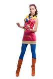 Mooie jonge vrouw in kleurenslijtage Royalty-vrije Stock Afbeelding
